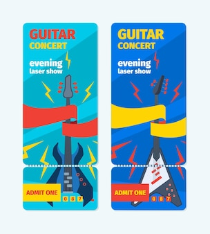 Music guitar concert tickets vertical banner. template of colorful rock festival laser show bass guitar music fun pop style blue flyer modern jazz party advertising fashion group.