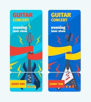 Музыкальные билеты на концерт гитары вертикальный баннер. шаблон красочного рок-фестиваля, лазерное шоу, бас-гитара, музыка, весело, поп-стиль, синий флаер, современная джазовая вечеринка, реклама, модная группа.