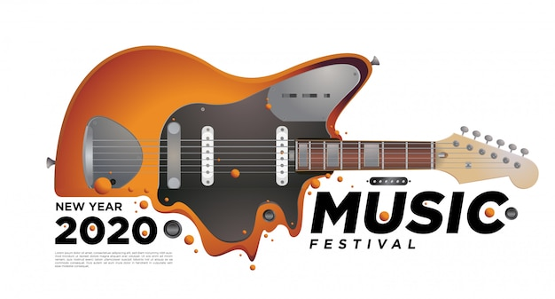 Music and guitar festival illustration design for 2020 new year party event.