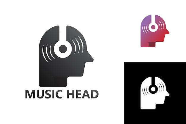 Шаблон логотипа музыкальной головы премиум векторы