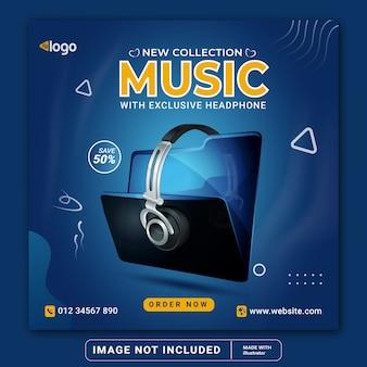 Продажа музыкальных наушников в социальных сетях instagram пост баннер шаблон или квадратный флаер