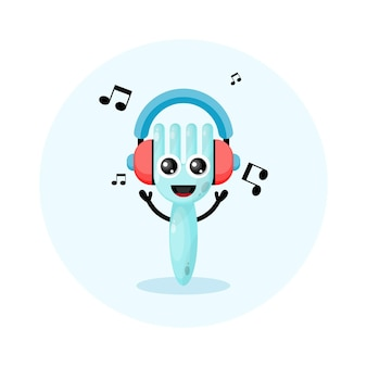 Music headset fork character cute