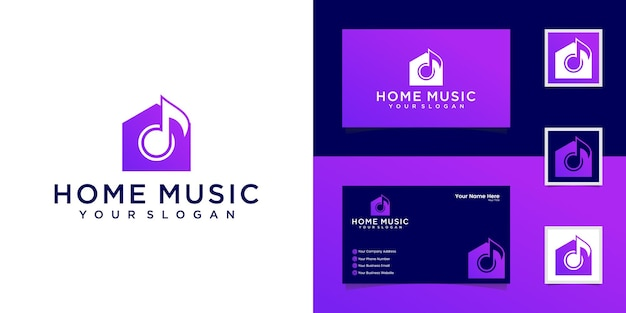 Music house logo  template and business card