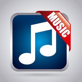 灰色の背景の上に音楽のアイコンベクトル図