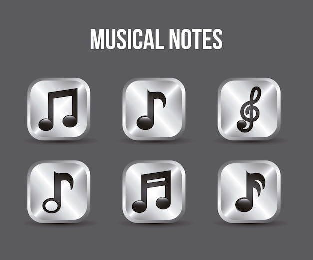 Music icons buttons over gray background vector illustration