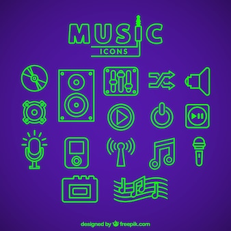 Music icons in green fluorescent color