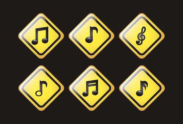 Музыка иконки на черном фоне векторные иллюстрации
