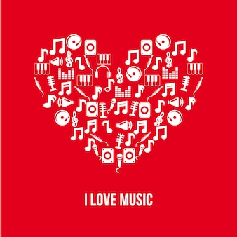 Music icons over red background vector illustration
