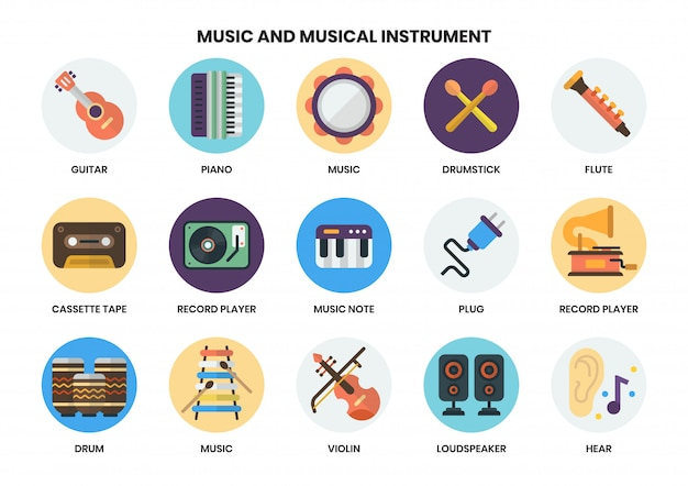 Music icons set for business