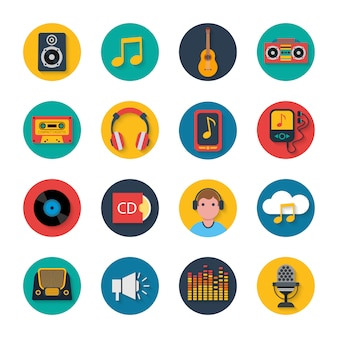 Music icons set mobile round solid