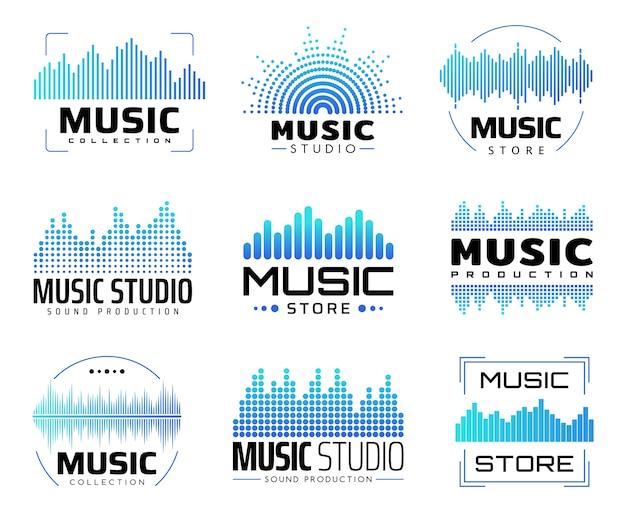Музыкальные значки с эквалайзерами, символы со звуком или радиоволнами или линиями звуковых частот.