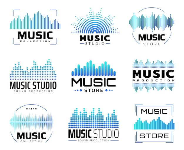 Music icons with equalizers,   symbols with audio or radio waves or sound frequency lines.