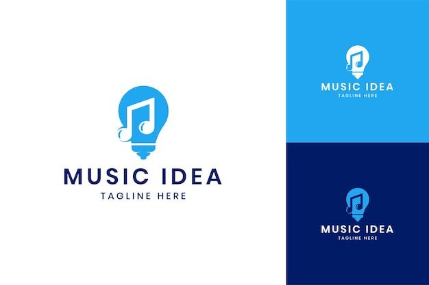 음악 아이디어 부정적인 공간 로고 디자인