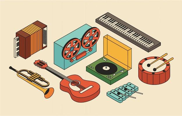 Музыка, иллюстрация, набор иконок, изометрия