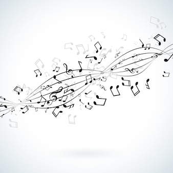 白い背景に落ちるノートと音楽のイラスト。
