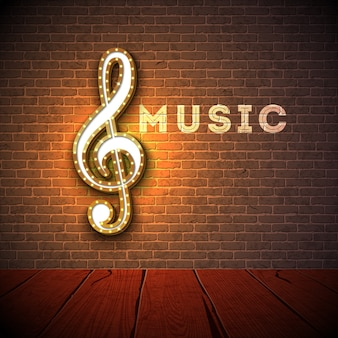 Music illustration with violin key lighting signboard on brick wall background.