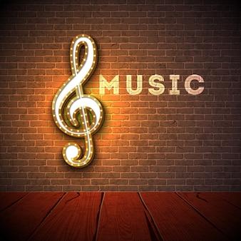 レンガの壁の背景にバイオリンキー照明の看板と音楽のイラスト。