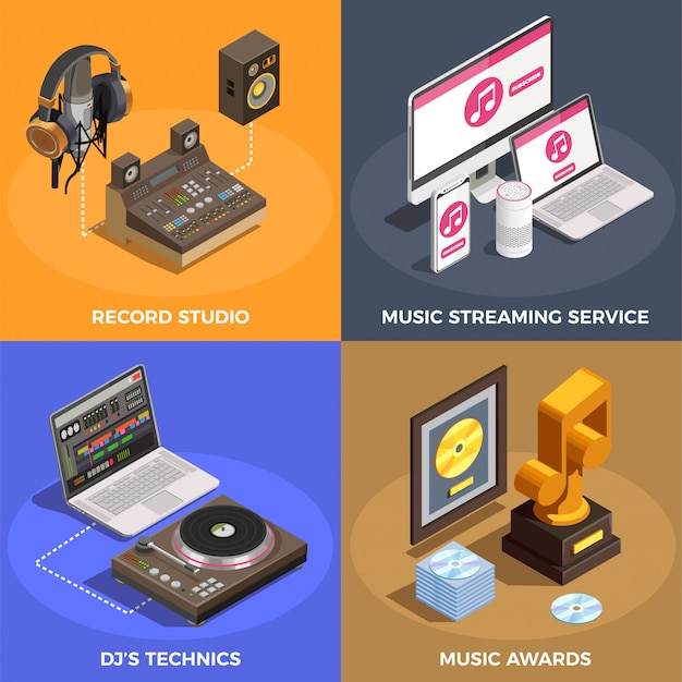 Music industry concept icons set