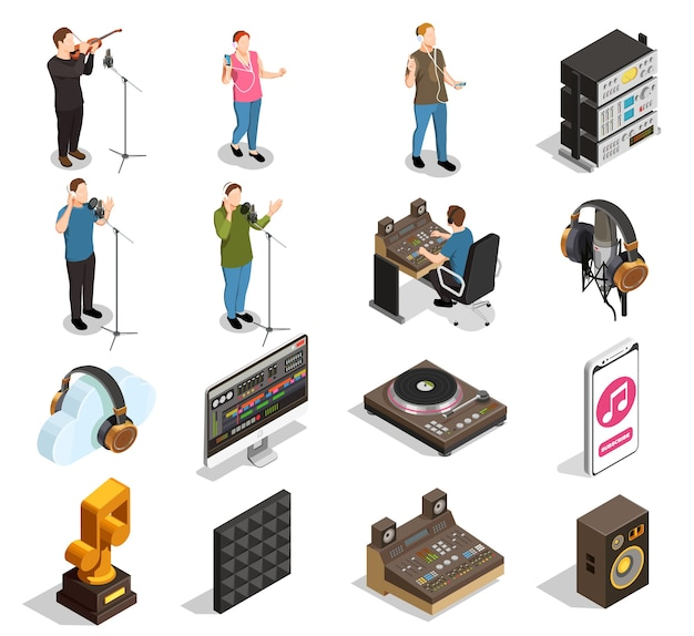 分離されたレコーディングスタジオのシンボルで設定された音楽業界の等尺性アイコン