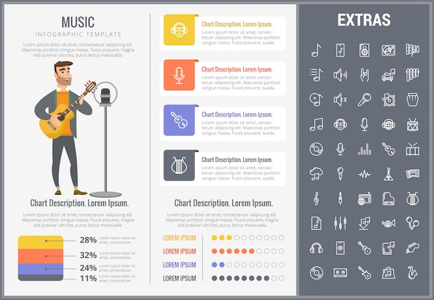 Music infographic template, elements and icons.