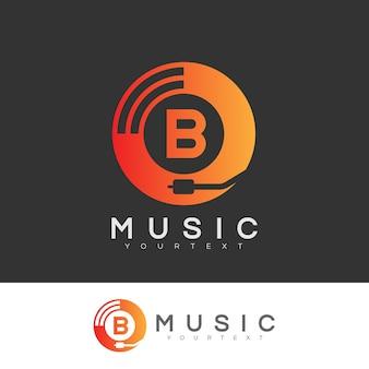 Музыкальное письмо letter b дизайн логотипа