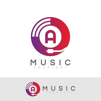 Music initial letter a logo design
