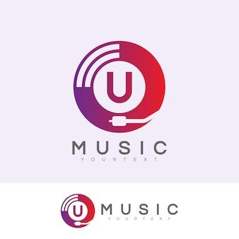 Music initial letter u logo design