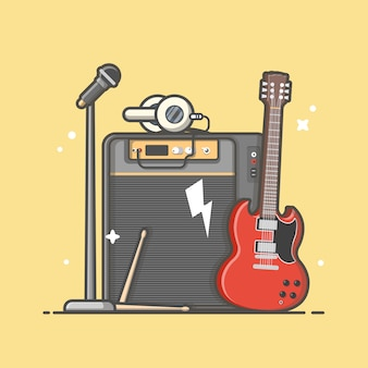 Music instrument concert perform with guitar, microphone, drum and headphone