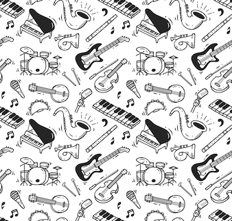 Music instrument doodle seamless pattern