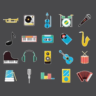 Music instrument icons collection