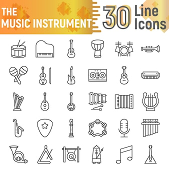 Music instrument line icon set, musical symbols collection