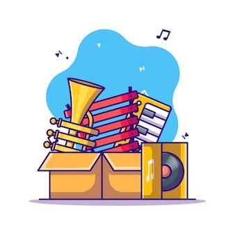 Music instrument and vinyl cartoon illustration