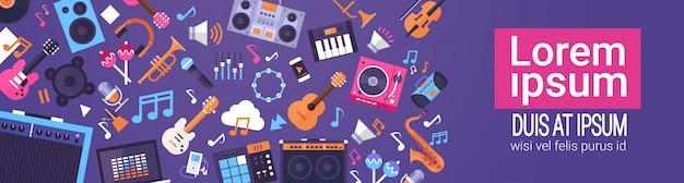 Музыкальные инструменты и оборудование электроника иконки баннер с копией пространства