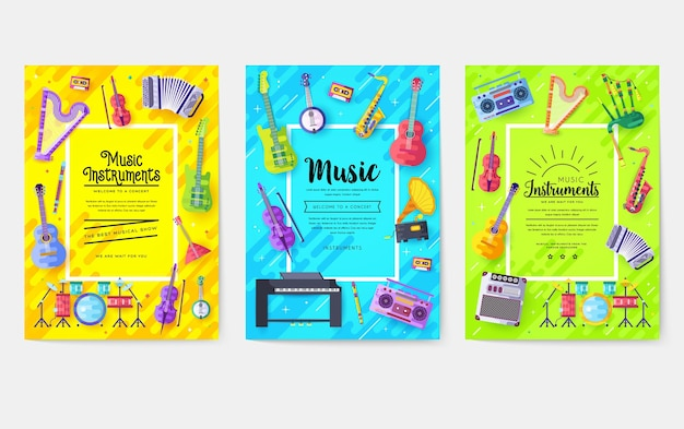 Music instruments cards set