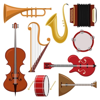 Music instruments cartoon set isolated.