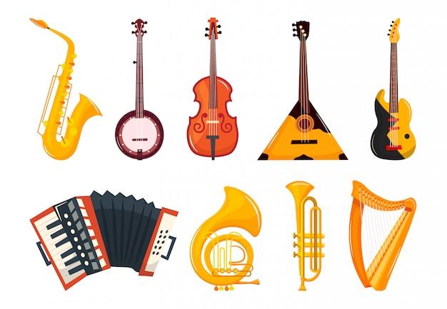Music instruments cartoon set
