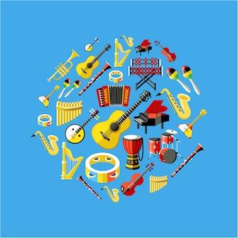 Collezione di strumenti musicali Vettore gratuito
