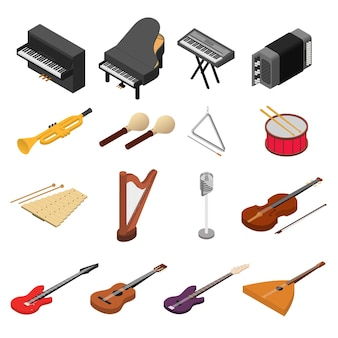 Music instruments color icons set isometric view rock, jazz and classic sound. vector illustration