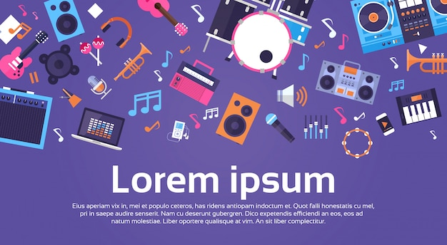 Music instruments and equipment electronics icons banner with copy space