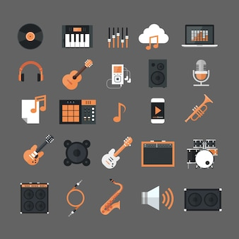 Music instruments and equipment electronics icons set button collection