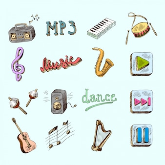 Music instruments hand drawing