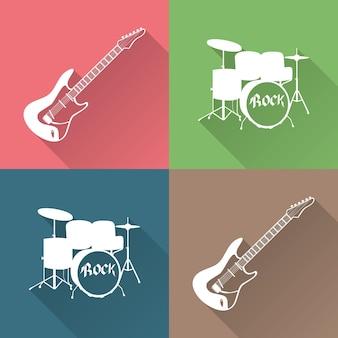 Музыкальные инструменты значок иллюстрации. креативная и роскошная обложка