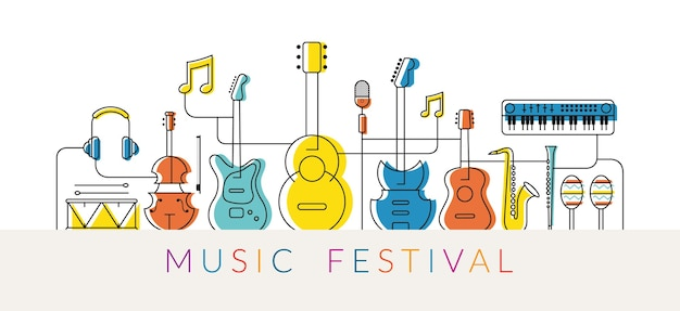 Музыкальные инструменты иллюстрации, дизайн линии