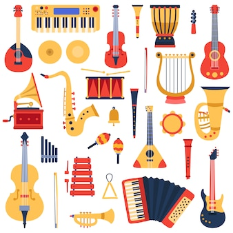 Music instruments. musical classical instruments, guitars, saxophone, drum and violin, jazz band music instruments  illustration icons set. drum and trumpet, tambourine and sound classic