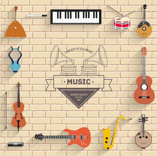 Музыкальные инструменты на белой современной кирпичной стене. иконки для мобильных приложений вашего продукта.