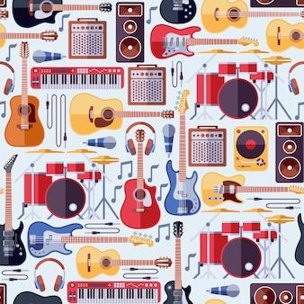 楽器のシームレスパターン 無料ベクター