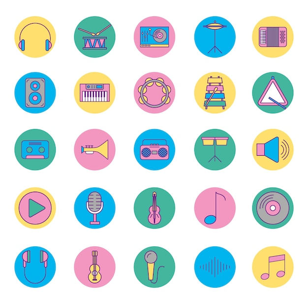 Music instruments and set icons