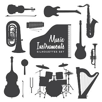 Коллекция силуэтов музыкальных инструментов