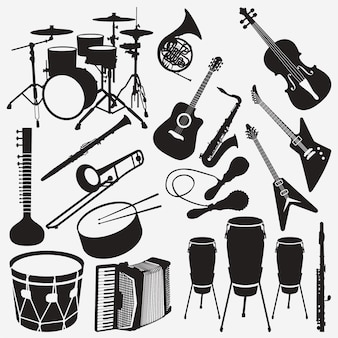 Music instruments silhouettes