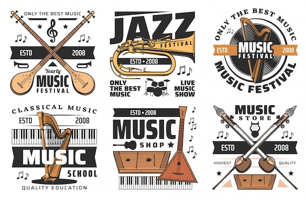 Music instruments store, live music festival icons
